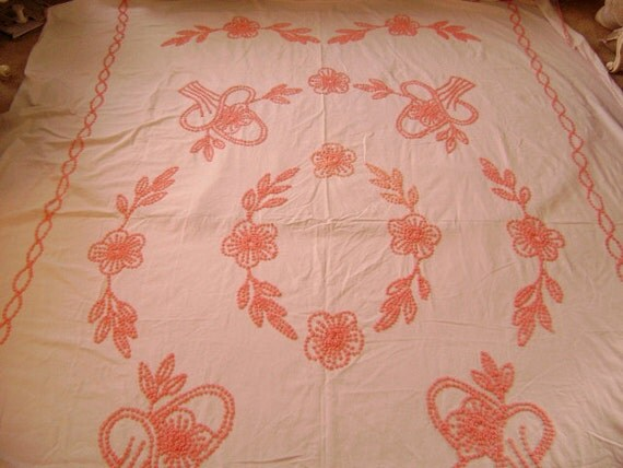 Handmade Vintage Chenille Bedspread - Pink Tufting on White Cotton - Twin or Full Coverlet, Throw, Crafting Supply
