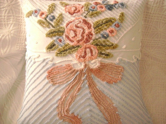 "PAIR of  Vintage Chenille 'Bouquet of Flowers' - 26"" EURO Pillows - Powder Blue, 'Lacy' White and Rose Ribbon Chenille - SUPER Plush"