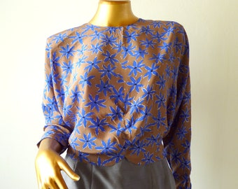 80's silk blouse with batwings, floral 50% off