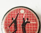 Vintage tin box, candy box, metal can, sport,  volleyball, red, black tones, Soviet Era