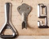 Vintage Soviet kommunalka set: hook, bottle opener, door number