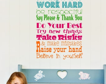 Wall Decal Teacher Classroom  Rules Vinyl Wall Art - Teacher Vinyl Wall Decals - Childrens Playroom Wall Decals
