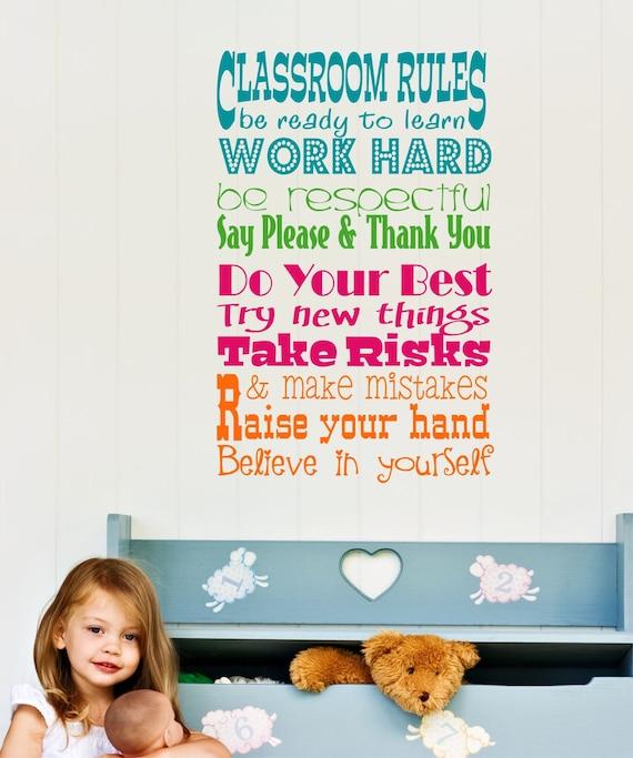 Teacher Classroom Wall Decor ~ Wall decal teacher classroom rules vinyl art