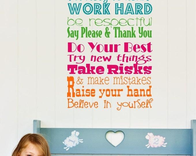 Wall Decal Teacher Classroom  Rules Vinyl Wall Art - Teacher Vinyl Wall Decals - Childrens Playroom Wall Decals