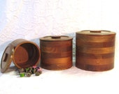 Vintage Round Wood Nestling Canisters  Box Housewares Home Decor Storage Kitchen Crafts