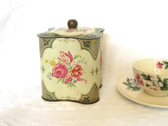 Vintage Tea Biscuit Tin Gold Floral Shabby Chic Storage Crafts Home Decor Box Tin Gift for Her