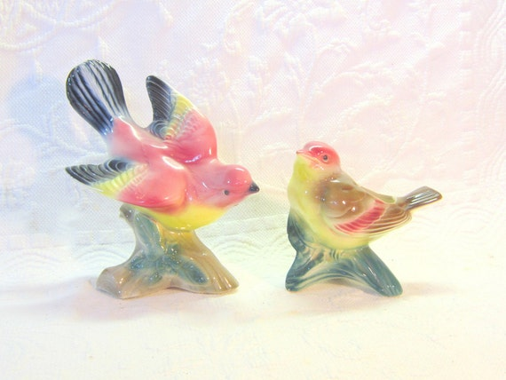 Vintage Pair Birds Planters Figures Statues Rose Teal Black Bird Watchers Collectable Garden Nature Home Decor