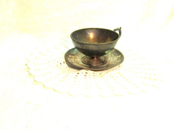 Antique Silver Plate Tea Cup Saucer Set Patina Home Decor Flowers English Victorian Collectable