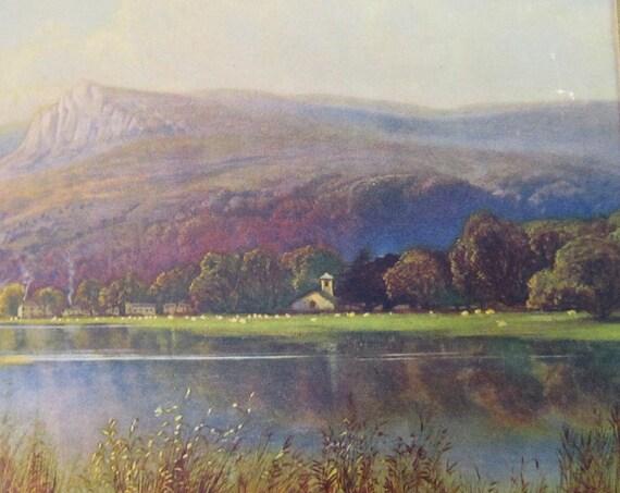 Vintage Rustic Scenic Lake Print Thomas Creswick Unframed Decor Art  Mountains Farm Pastoral British Gift under 40
