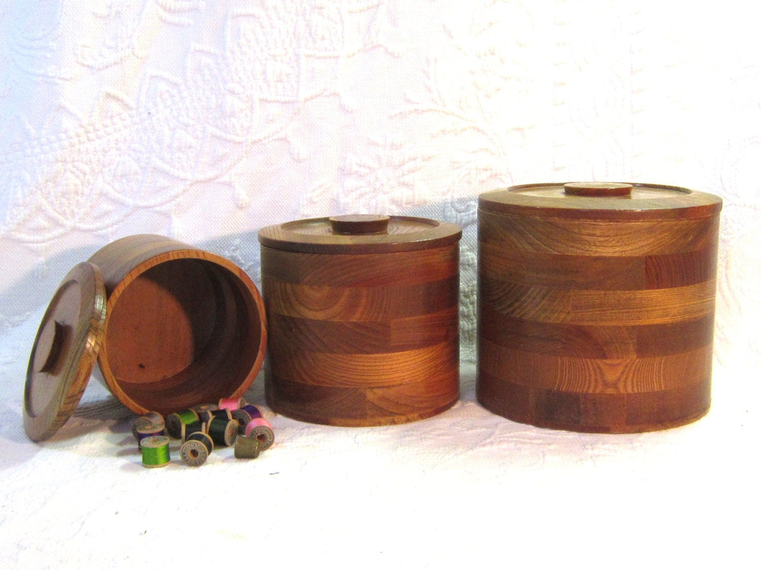 wooden canisters kitchen vintage round wood nestling canisters box housewares home 8124
