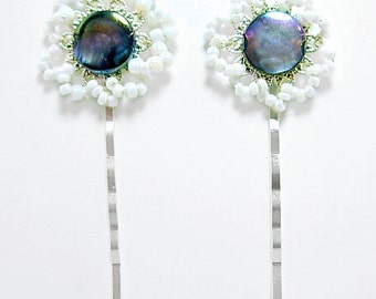 Blue-Grey, Beaded Hairpins, Bobby Pins (2), Peacock Mother of pearl, White, flower