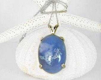 Blue Lace Agate Cabochon in Sterling Silver,Sterling Silver chain, Hand cut & polished