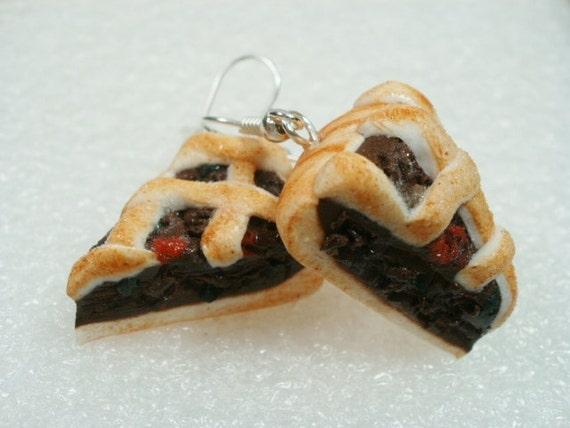 Lattice Mincemeat Pie Earrings. Polymer Clay.