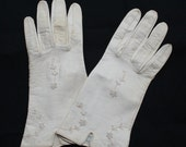 Vintage Ladies White Leather Gloves Made in Germany US Zone