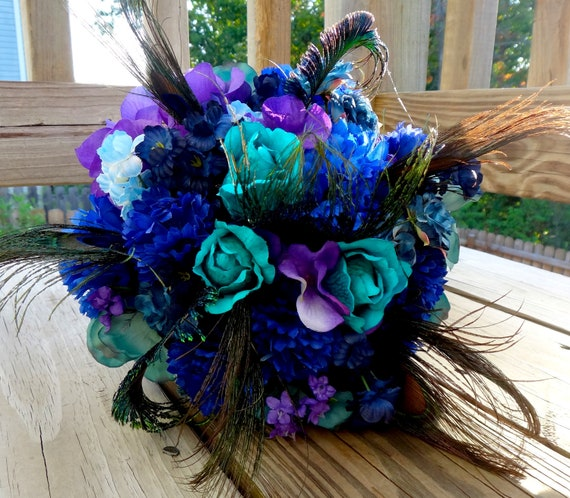 Teal And Purple Wedding Flowers: Peacock Bridal Bouquet Teal Purple Blue Bridal Bouquet With
