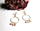 Pink Opal Beaded Hoop Earrings