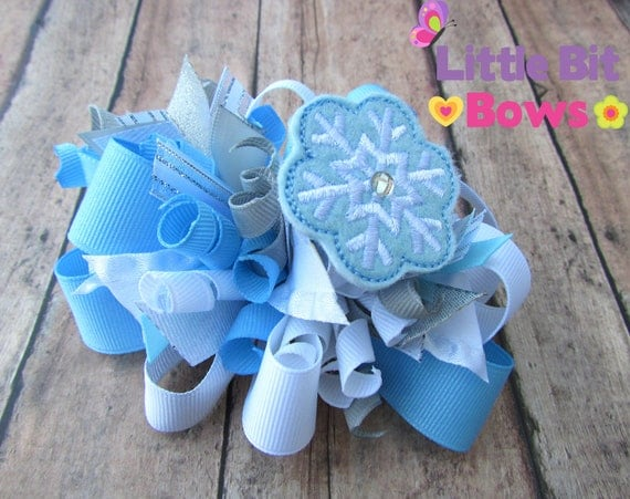 Blue, White, and Silver Winter Snowflake Feltie Boutique Funky Bow