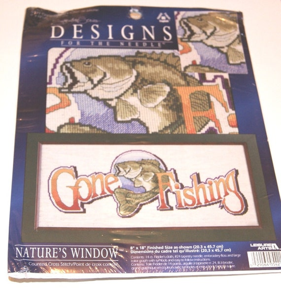 Counted Cross Stitch Kit Gone Fishing Needlepoint kit Natures Window Designs for the Needle Fish