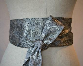 Grey taupe obi sash belt waist cincher rose brocade engagement satin
