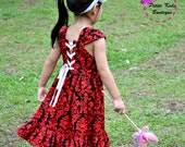 Megan Dress for Girls 12M - 8Y PDF Pattern & Instructions- twirly skirt-lace up back bodice- fully lined bodice