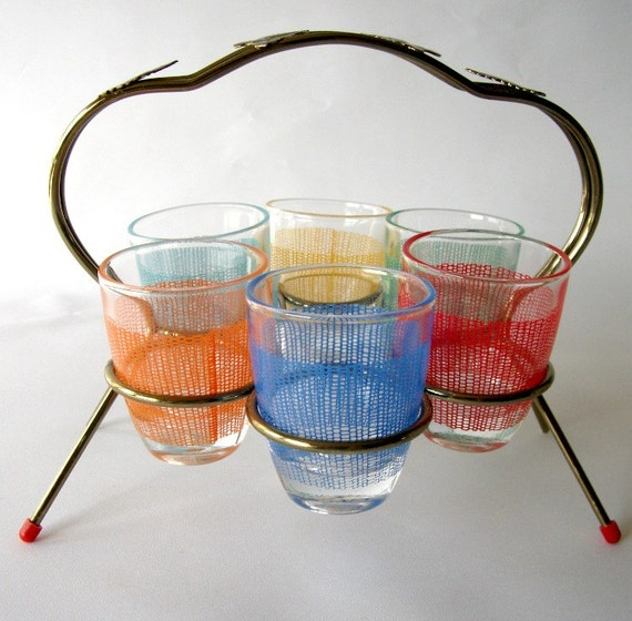 Mid Century Shot Glass Set in Metal Caddy