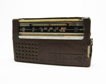 Working VINTAGE SOVIET portable RADIO with case, use for home decor, for him, gift.