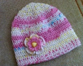 Crochet Baby Hat With Flower and Button, 3-9 months Girl Babies, Usa Seller