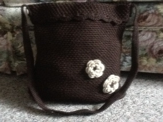 Hand Bag Tote in Brown, Shoulder Bag, Tote Bags, Crochet Bag and Purse, Crochet Brown Bags With Flowers, Usa Seller