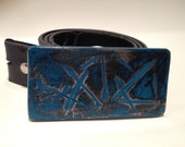 Steel belt buckle distressed blue