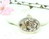 Brown Bird Necklace, Tree, Rust, Woodland, History  (2-12N) - Free shipping, Historical Fashion, Mosaic of Caesarea