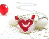 Red Heart on White Necklace (281) - FREE WORLDWIDE SHIPPING