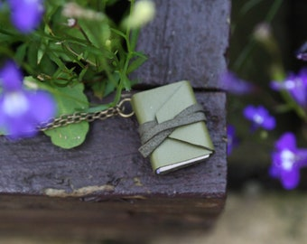 Unique Mini book necklace with poem - Stopping by woods on snowy evening