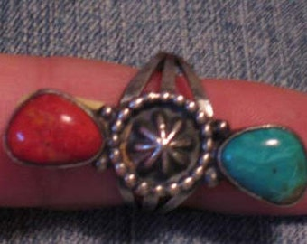 Coral and Turquoise Sterling Silver ring