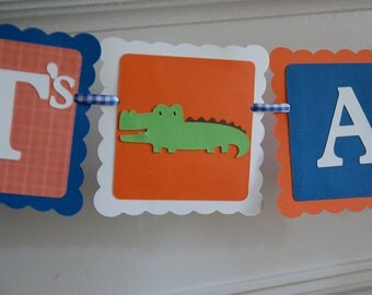 University of Florida Alligator It's A Boy Banner, Baby Shower Banner, Alligator Theme, UF Theme