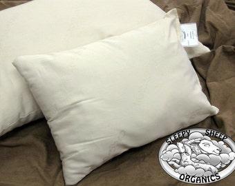 Toddler Pillow, Wool w/Organic Cotton Shell.