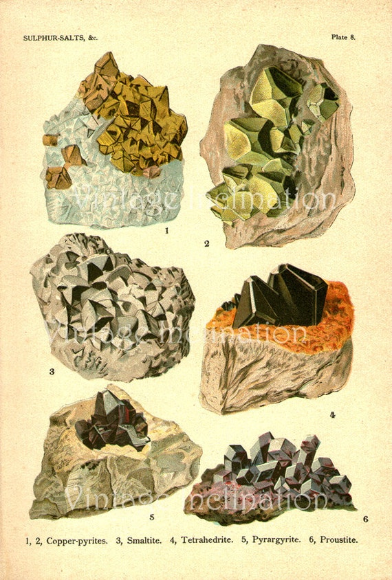 COPPER-Pyrite smaltite tetrahedrite 6 crystals, VINTAGE EDWARDIAN color geology lithograph crystal stone mineral print suitable to frame
