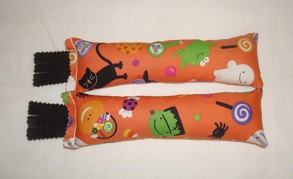 SALE Catnip Cat Toys - Set of 2 Kicksticks - Halloween Trick or Treat Orange Fabric