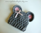 Baby Girl Hat, Newborn Crochet Hat in Gray and Light Pink - Made to Order - Perfect for Photos