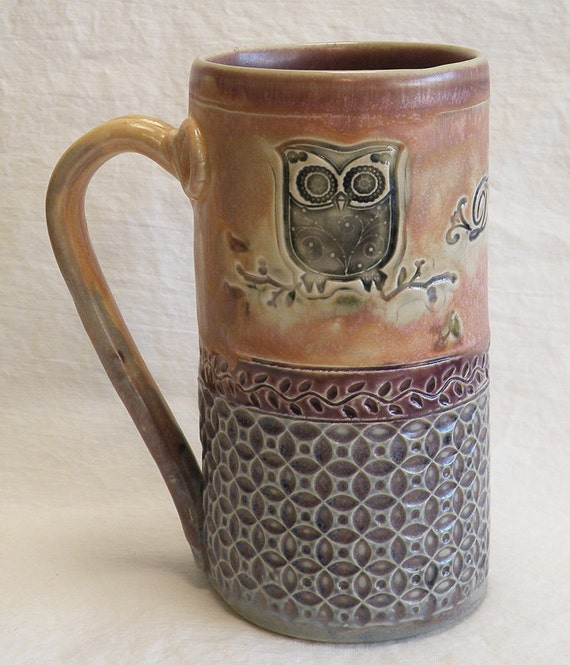 Handmade Owl Ceramic Coffee Mug 20oz Stoneware 20b052