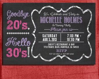 30th, 40th, 50th Chalkboard Style Birthday  Invitation 4x6 or 5x7 Invitation for adults-DIY Printable