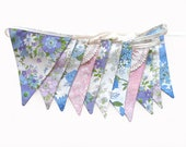 Vintage Pretty Pastel Floral Pink, Blue , Lilac & Doily Lace, Floral Flag Bunting. Wall hanging, Parties, Party, Wedding etc