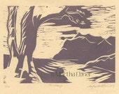 "Mountain Woodcut Print ""The Range"""