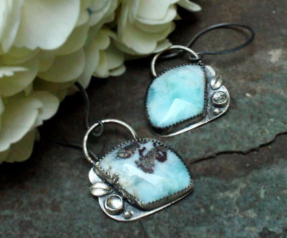 Silver Larimar and White Topaz Earrings