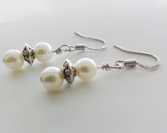 Faux Pearl Dangle Earrings in Cream Colour