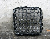 Black ceramic wall tile, home decor one of a kind, porcelain tile minimalist organic. - GolemDesigns