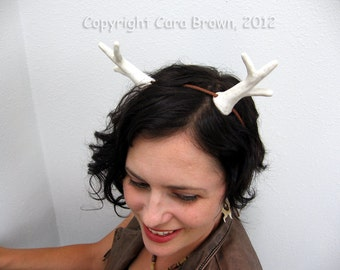 Antlers costume headband White deer animal realistic hand sculpted from polymer clay