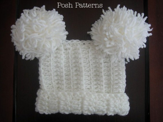 Crochet Baby Hat Pattern With Pom Pom : Crochet Hat PATTERN Baby Square Pom Pom Hat by PoshPatterns