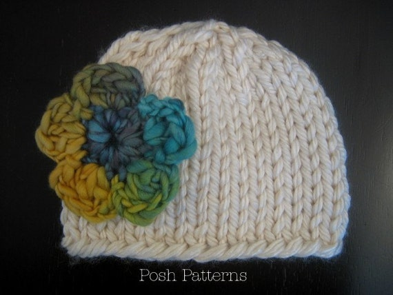 Knitting PATTERN Hat Easy Knit Baby Beanie Knitting PDF 227 - Newborn to Adult - Permission To Sell Finished Items - Photography Prop