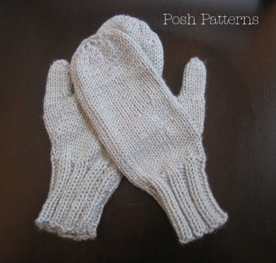 Knitting Pattern For Mittens Using Two Needles : Knitting PATTERNS Easy Two Needle Mittens Pattern by PoshPatterns