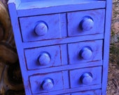 Shabby Blueberry Upcycled Vintage Trinket Jewelry Box Organizer 4 Drawer Funky Home Decor